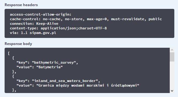Przykład odpowiedzi interfejsu API