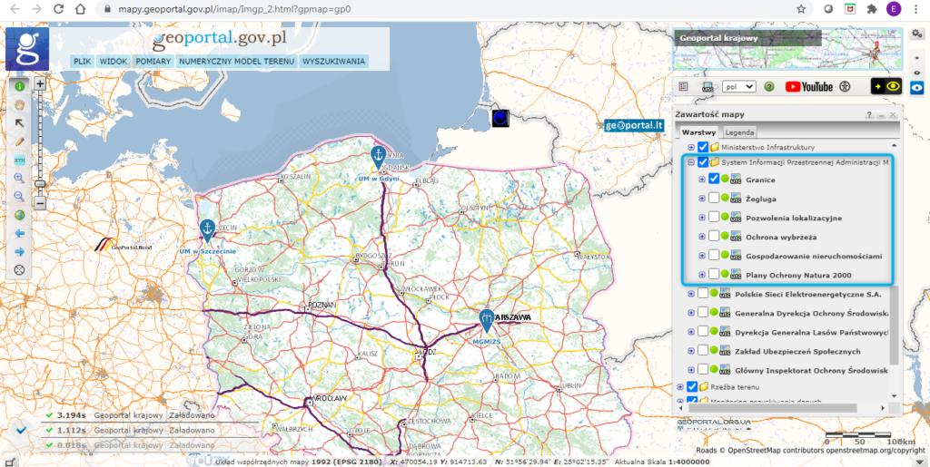 Konfiguracja SIPAM w rządowym Geoportalu
