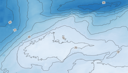 fragment mapy z izobatami